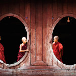 Fenster einer Pagode in Burma, Myanmar, Birma
